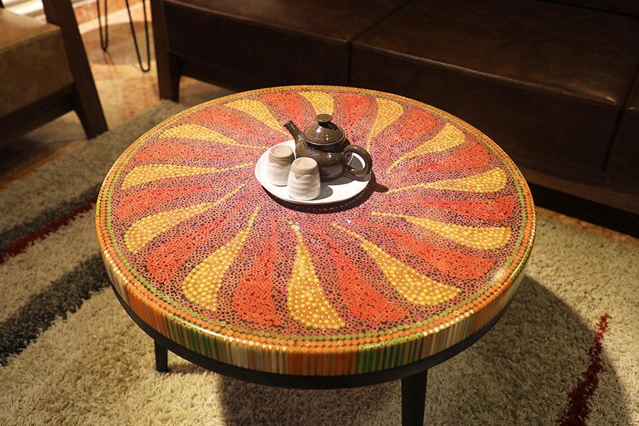 bàn trà nghệ thuật hoạ mi II 1