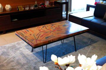 bàn trà nghệ thuật thu vàng II 4