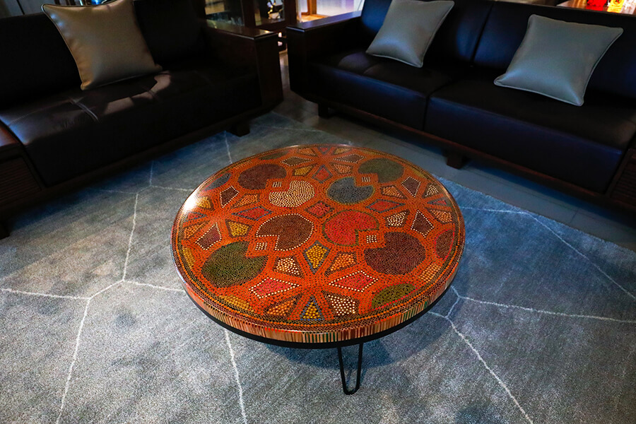 8 Water Lily Leaves Colored-Pencil Coffee Table II 1