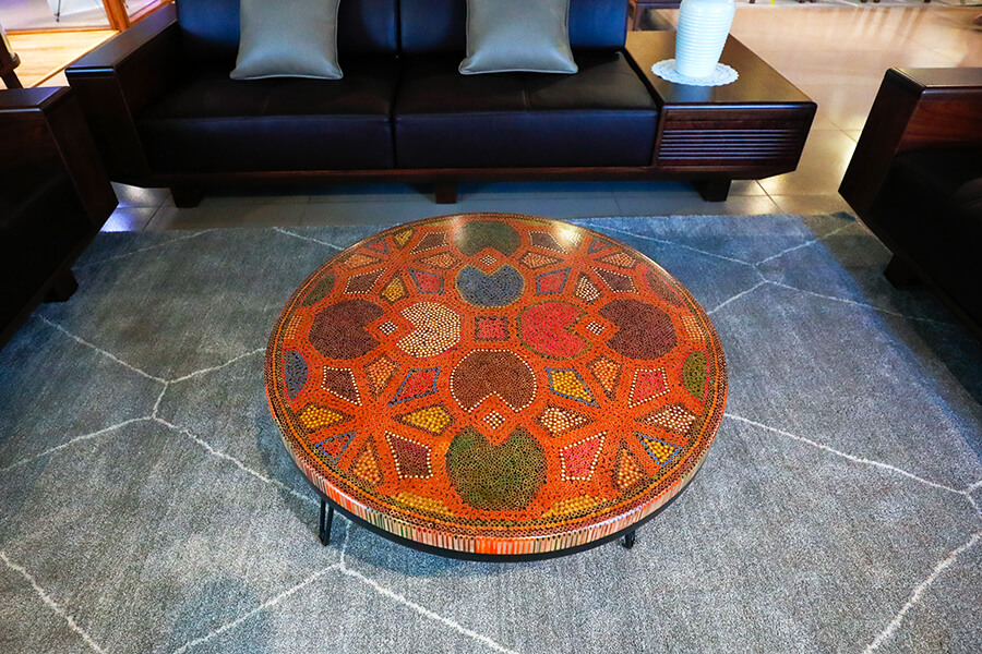 8 Water Lily Leaves Colored-Pencil Coffee Table II 2