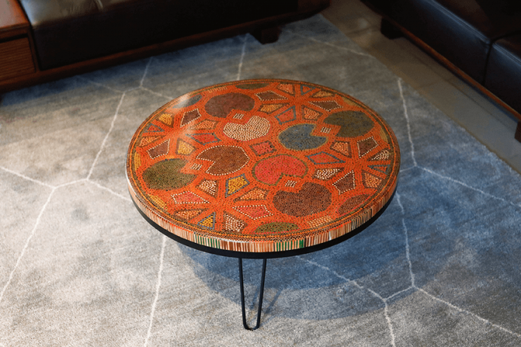 8 Water Lily Leaves Colored-Pencil Coffee Table II