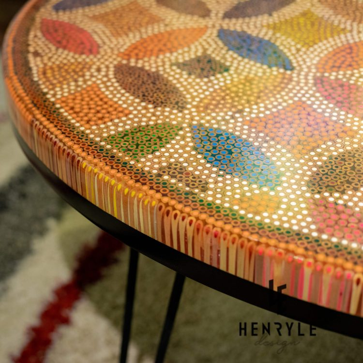 A Corner of Lucky Coins Colored Pencil Coffee Table