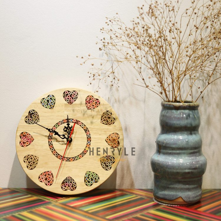 Art Love Colored-Pencil Wood Wall Clock