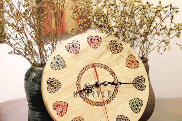 Art Love Colored-Pencil Wood Wall Clock