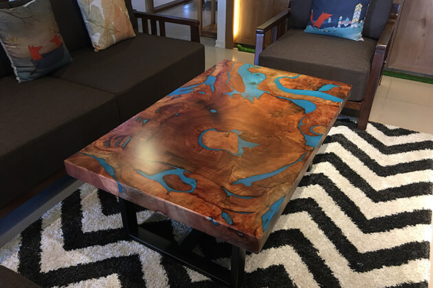 Art wooden coffee tables