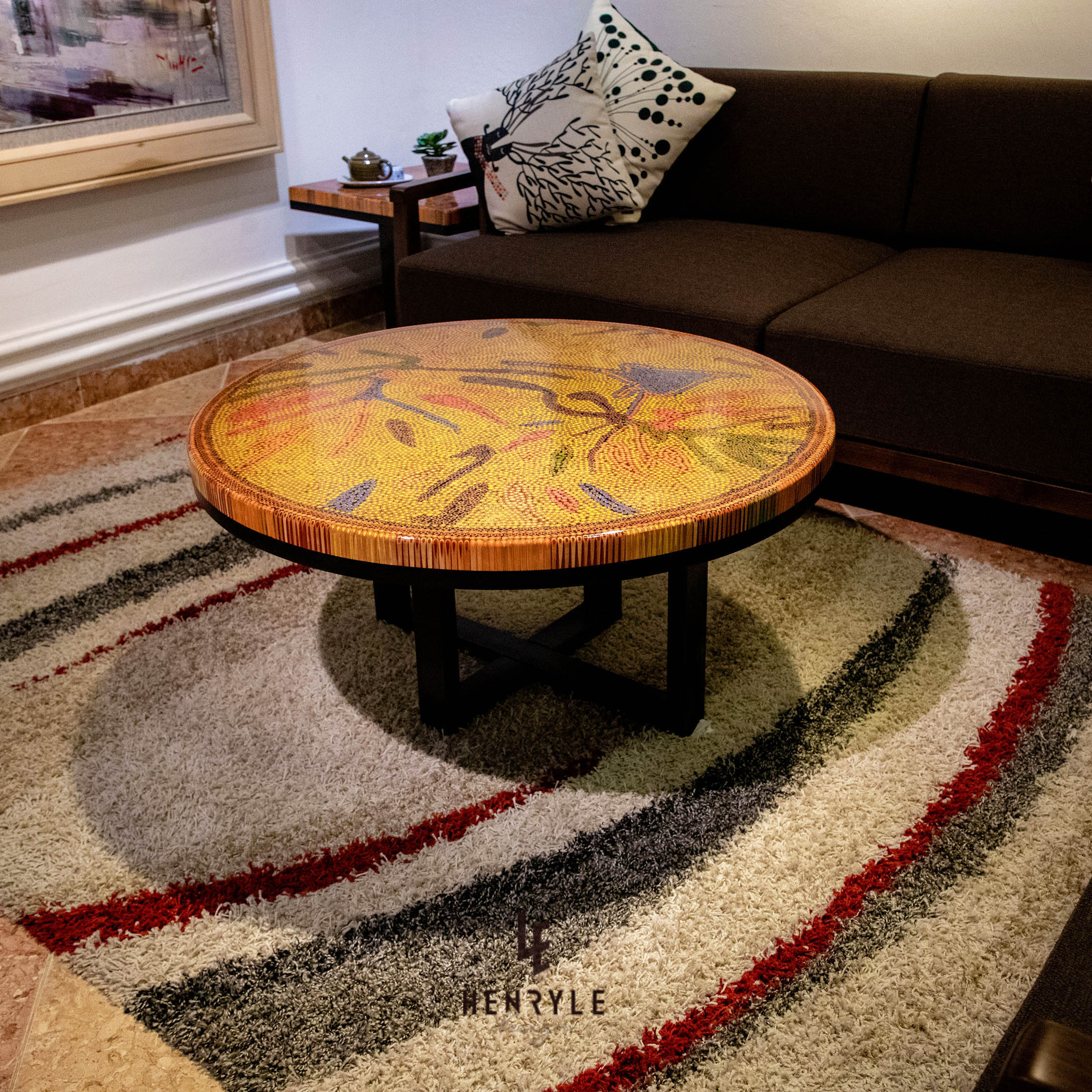 Burning Forest Colored Pencil Coffee Table