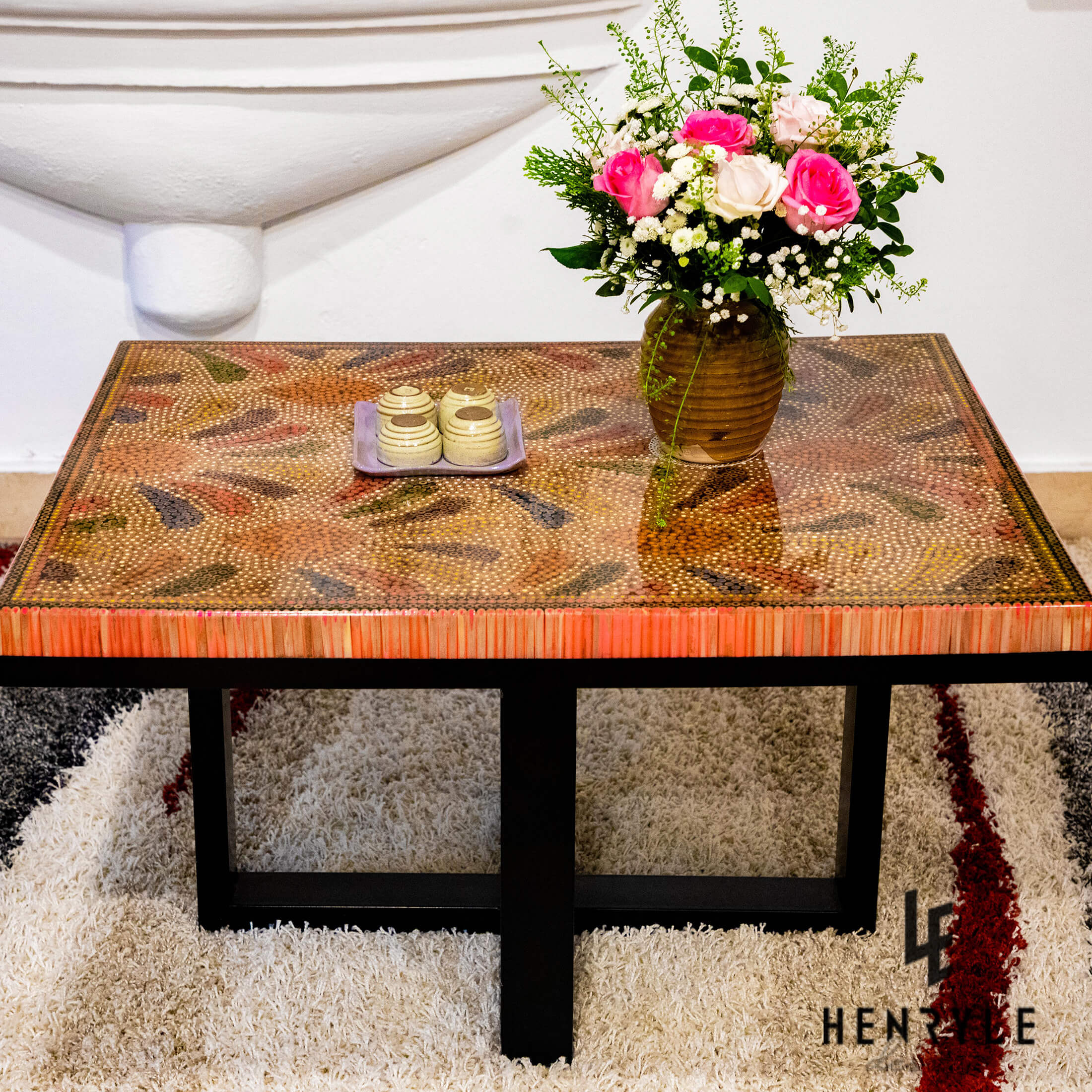 Blooming Fireworks Colored Pencil Tea Table