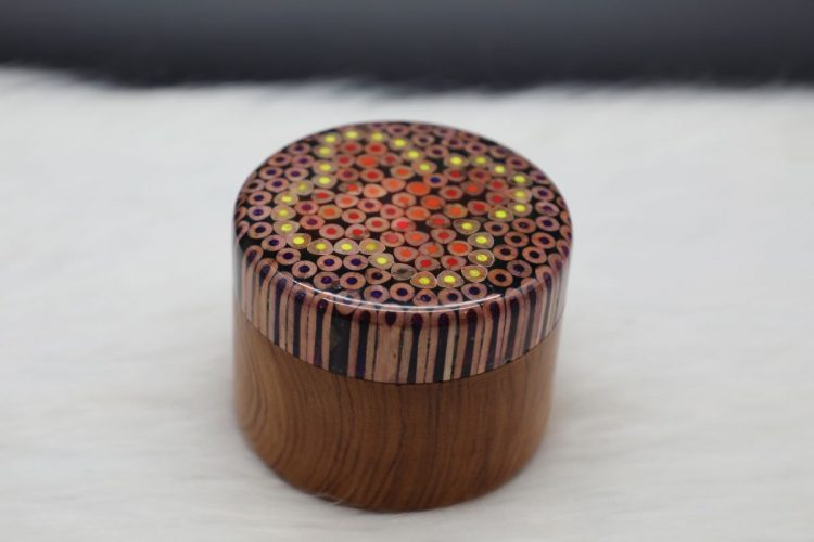 Colored-pencil Flower Jewelry Box