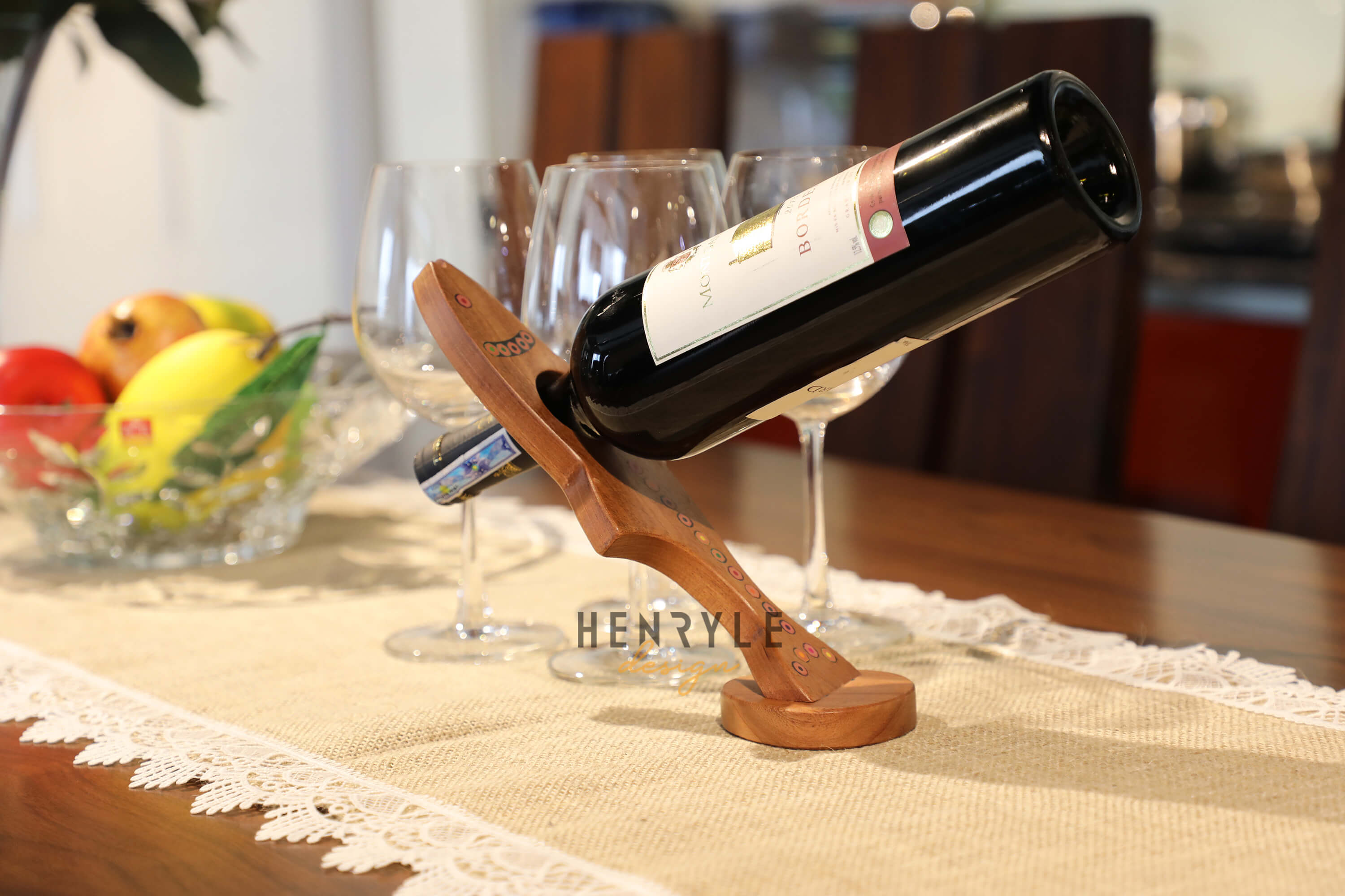 Colored-Pencil Free Standing Salmon-Shape Balancing Wine Bottle Holder