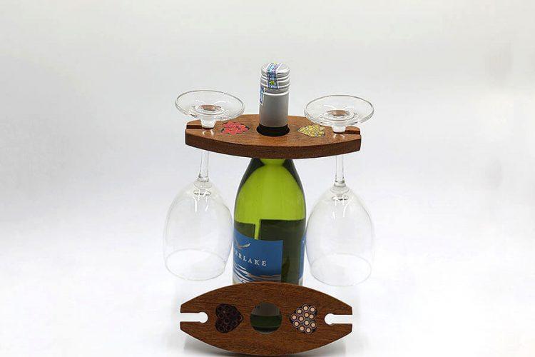 Colored-Pencil Wine Bottle Holder Ellipse with 2 Long Stem Glasses