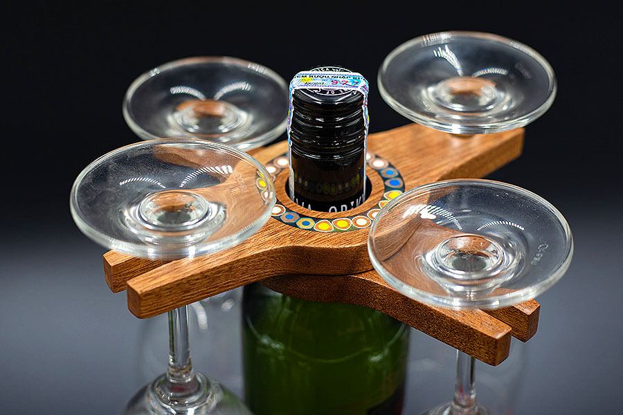 Colored-Pencil Wine Bottle Holder with 2 Long Stem Glasses5