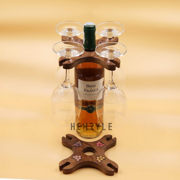 Colored-Pencil Wine Bottle Holder with 4 Long Stem Glasses