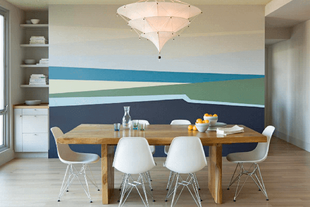 Creative Wood Element Wall Murals in Living Space
