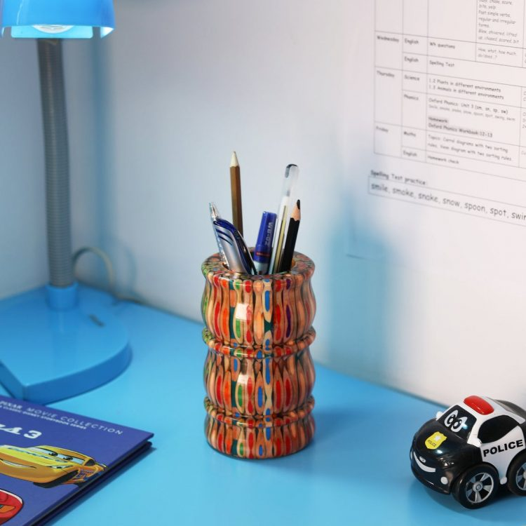 Decorative Colored-pencil Bamboo Vase