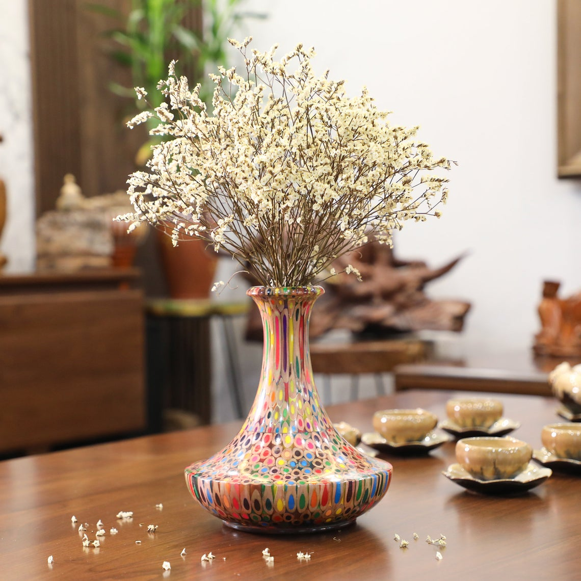Decorative Colored-pencil High Tower Vase I