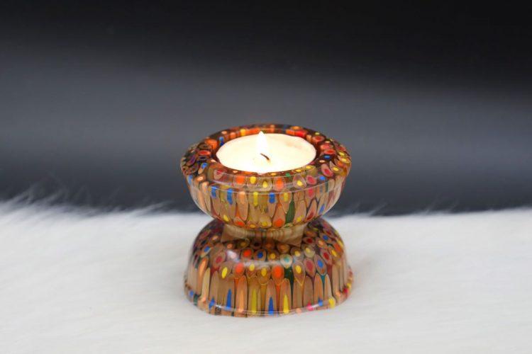 Decorative Colored-pencil Lotus Candle Holder