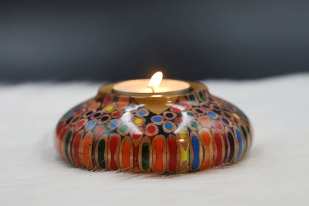 Decorative Colored-pencil Lucky Candle Holder