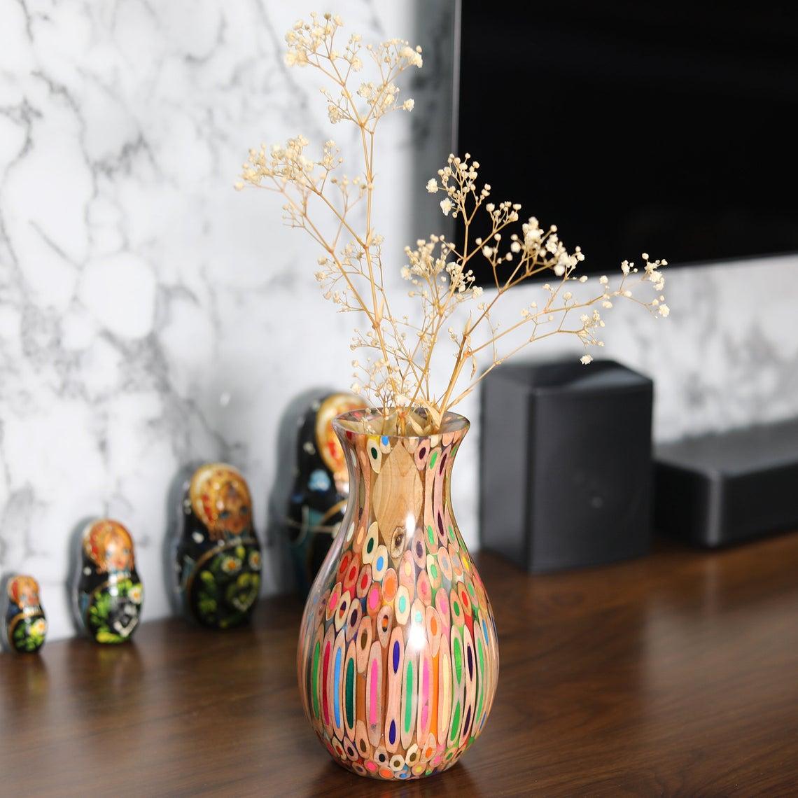 Decorative Colored-pencil Peacock Vase