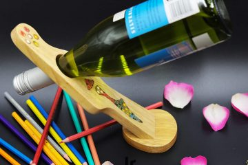 Decorative Lady Self Balance Guitar - Shape Colored-Pencil Wine Bottle Holder 1
