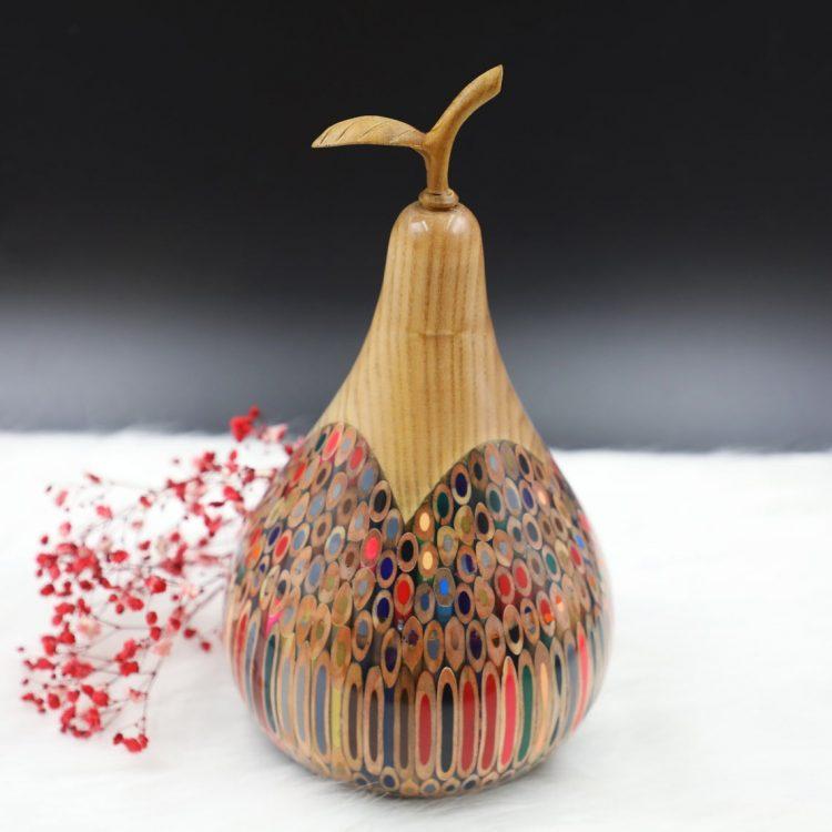 Decorative Wooden Colored-pencil Longevity Pear