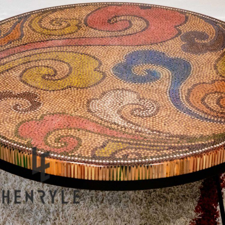 Elysium Colored Pencil Coffee Table, Unique tea table
