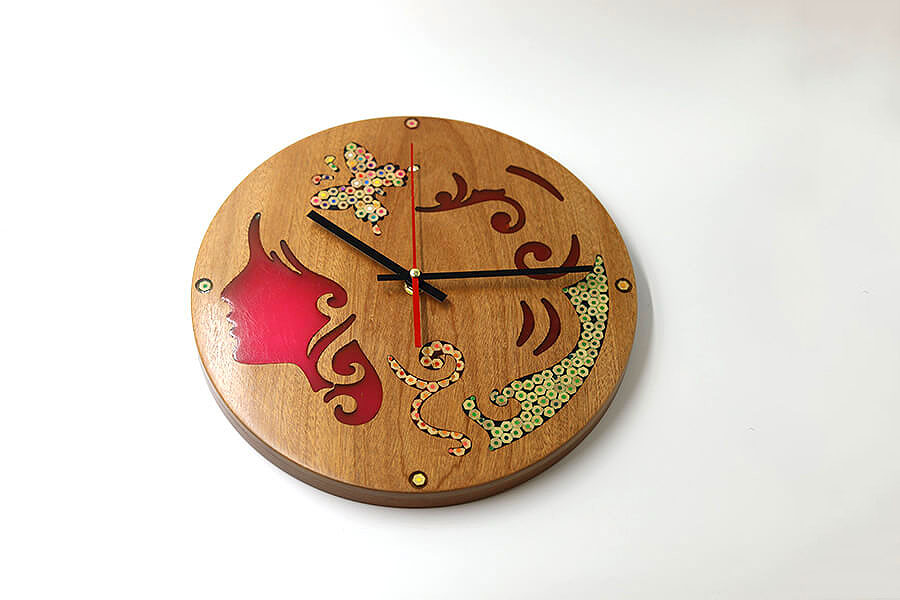 Erato Muse Resin Colored-Pencil Wood Wall Clock 2