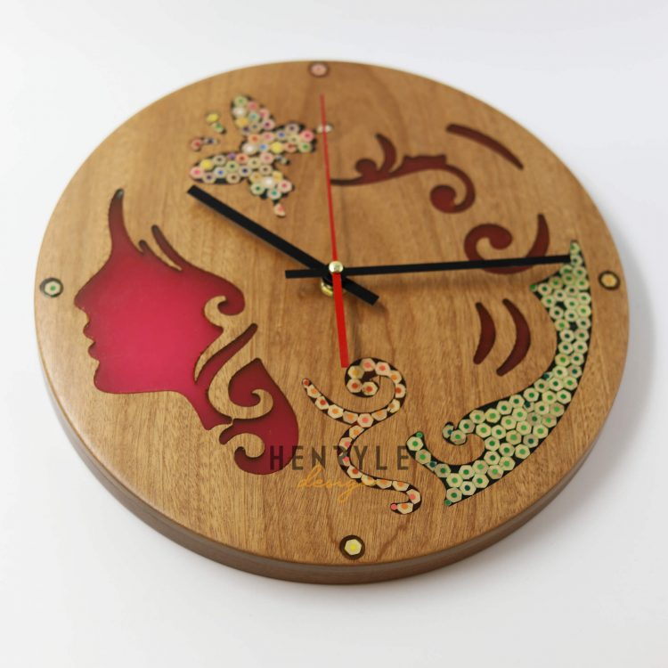 Erato Muse Resin Colored-Pencil Wood Wall Clock