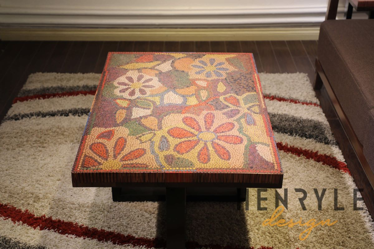 Floral Life Colored Pencil Coffee Table
