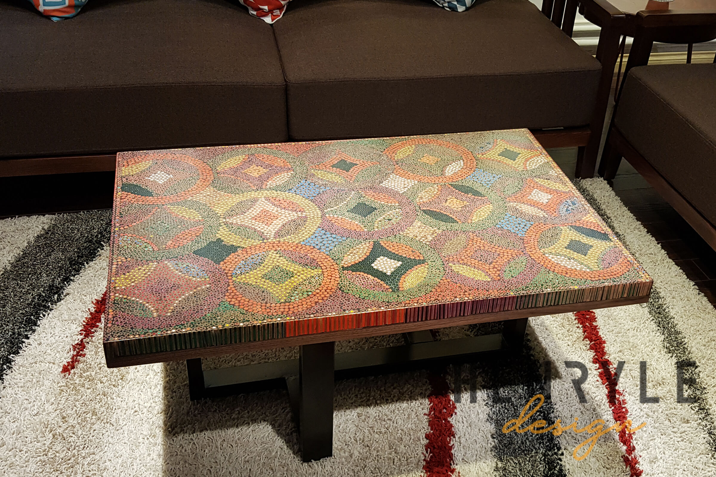 Flow of Prosperity Colored-Pencil Coffee Table