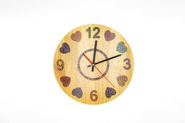 Heart Beat Colored-Pencil Wood Wall Clock