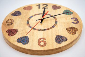 Heart Beat Colored-Pencil Wood Wall Clock