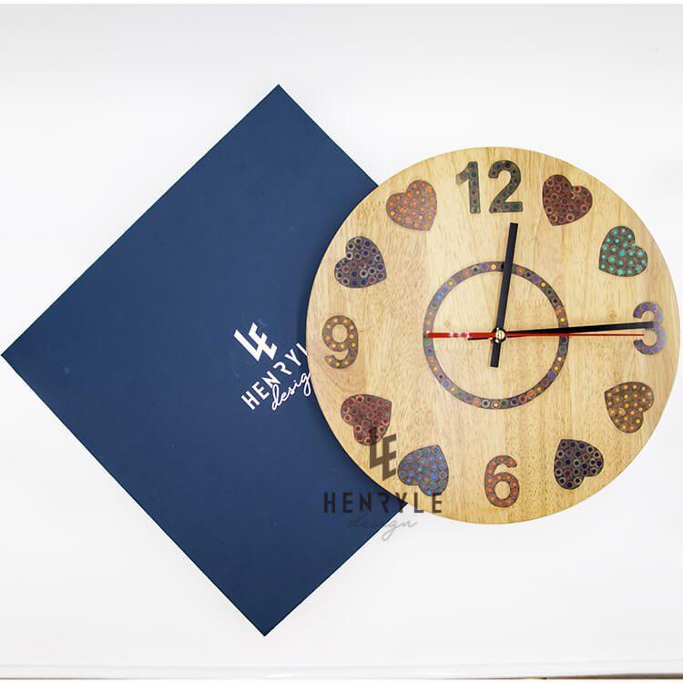 Heart Beat colored Pencil Wood Wall Clock (1)