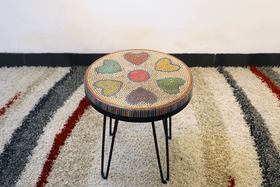 Heart Colored-pencil Coffee Table