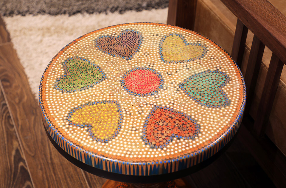 Heart IV Colored-pencil Coffee Table 1