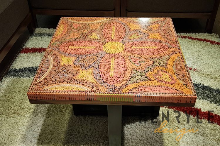 Jungle Flame Colored-Pencil Coffee table