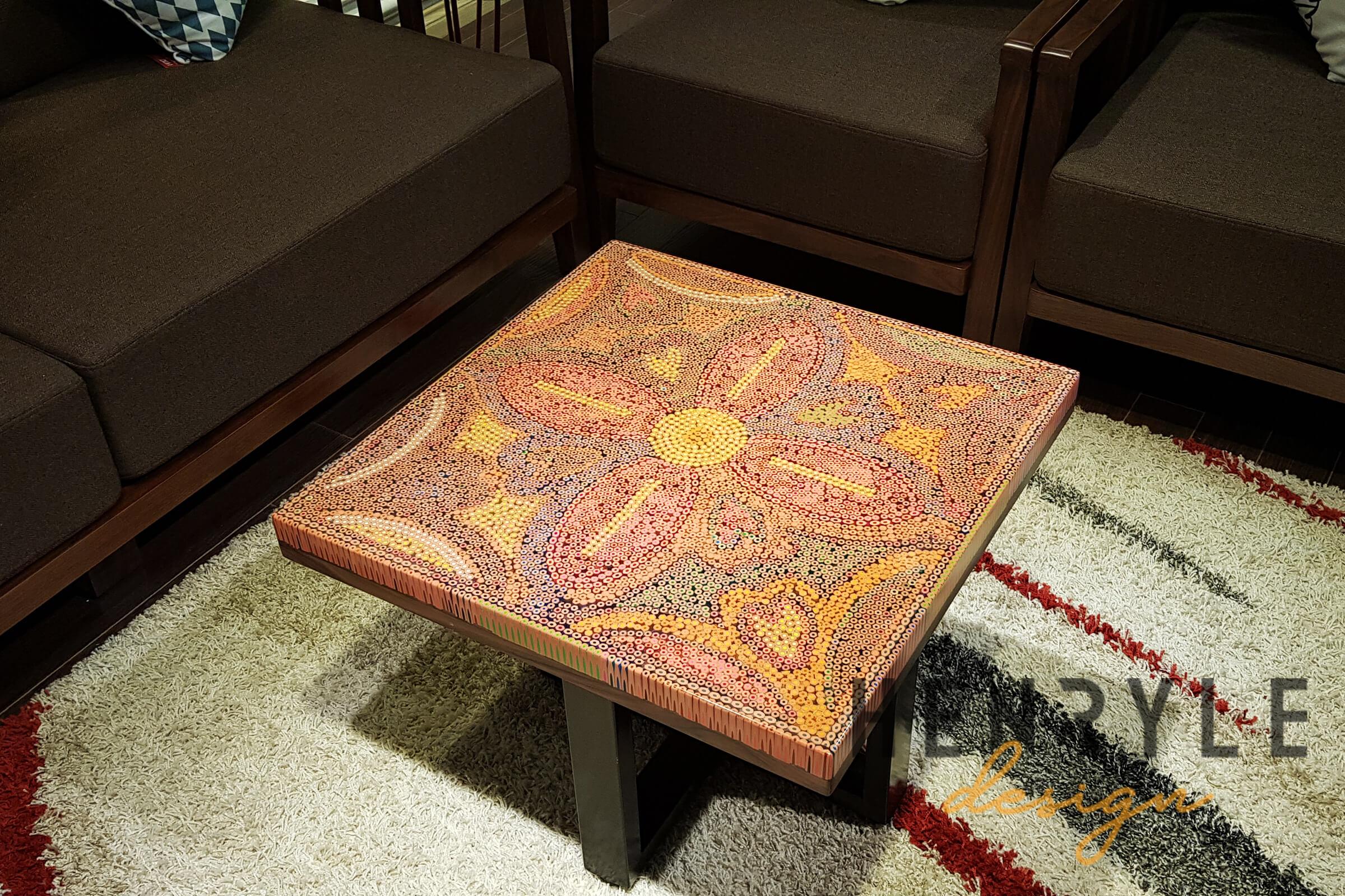 Jungle Flame Colored-Pencil Coffee table