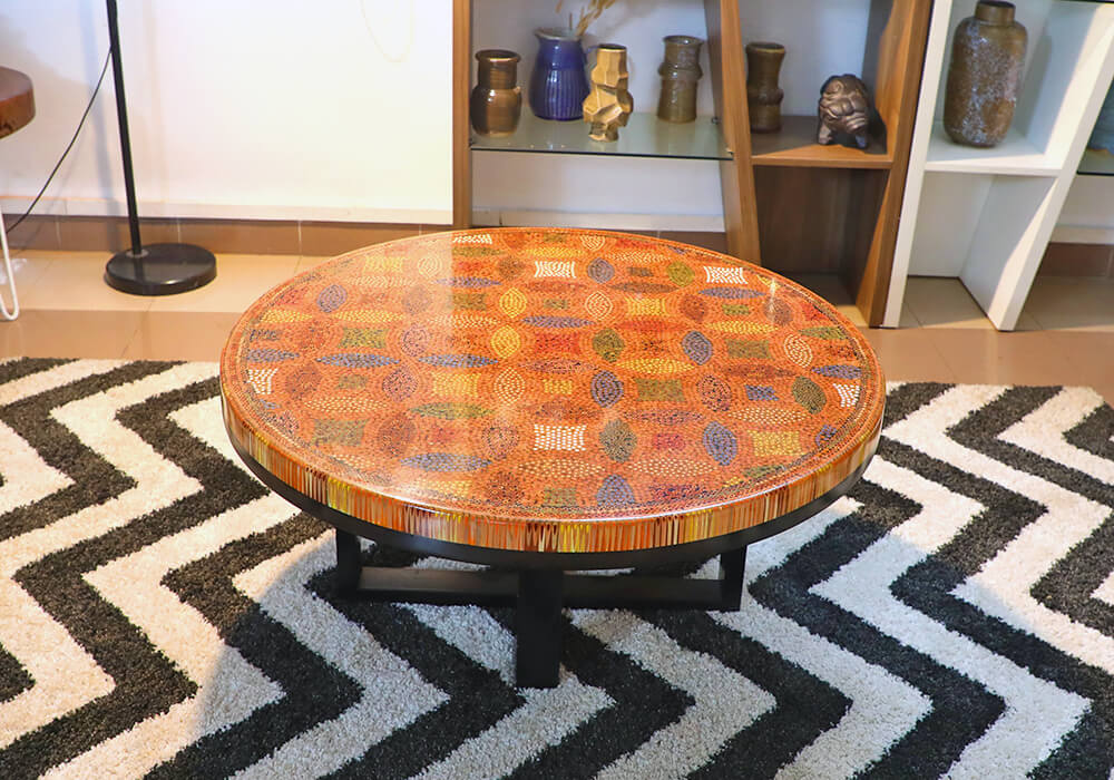 Lucky Coins Colored Pencil Coffee Table IV