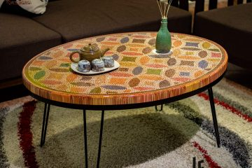 Lucky Coins Colored Pencil Coffee Table 2