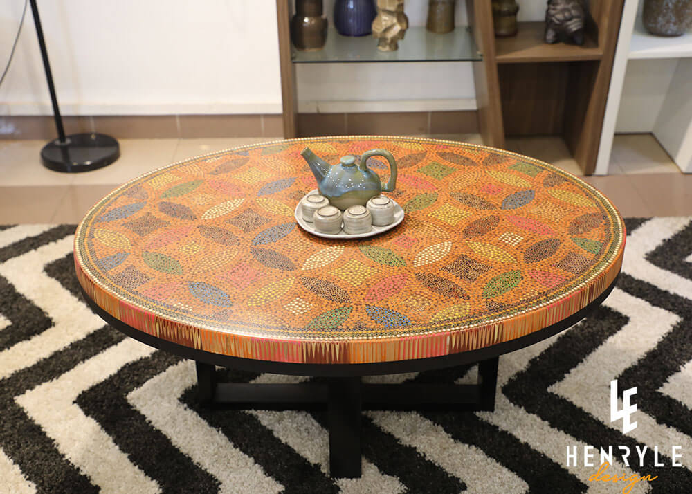 Lucky Coins Colored Pencil Coffee Table II 1