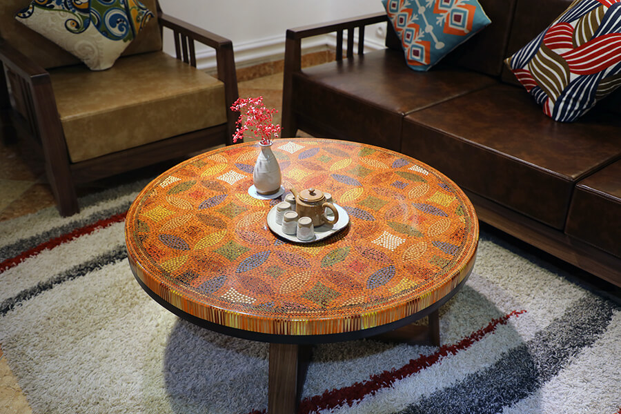 Lucky Coins Colored Pencil Coffee Table IV 3