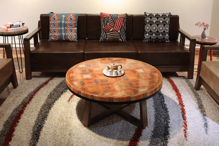 Lucky Coins Colored Pencil Coffee Table