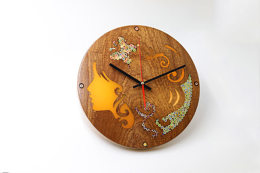 Melpomene Muse Resin Colored-Pencil Wood Wall Clock 2