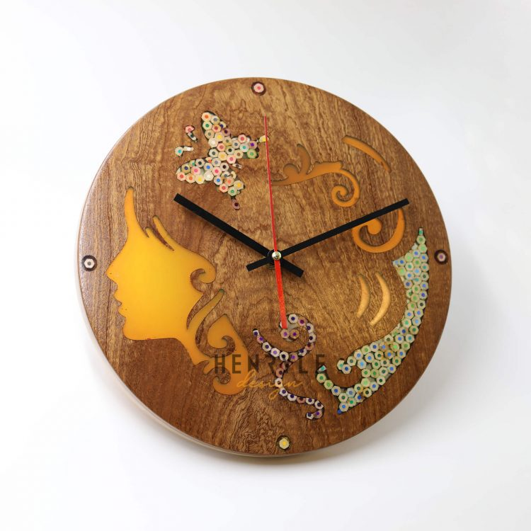 Melpomene Muse Resin Colored-Pencil Wood Wall Clock