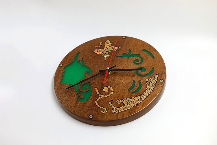 Polyhymnia Muse Resin Colored-Pencil Wood Wall Clock 2