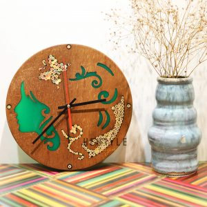 Polyhymnia Muse Resin Colored-Pencil Wood Wall Clock