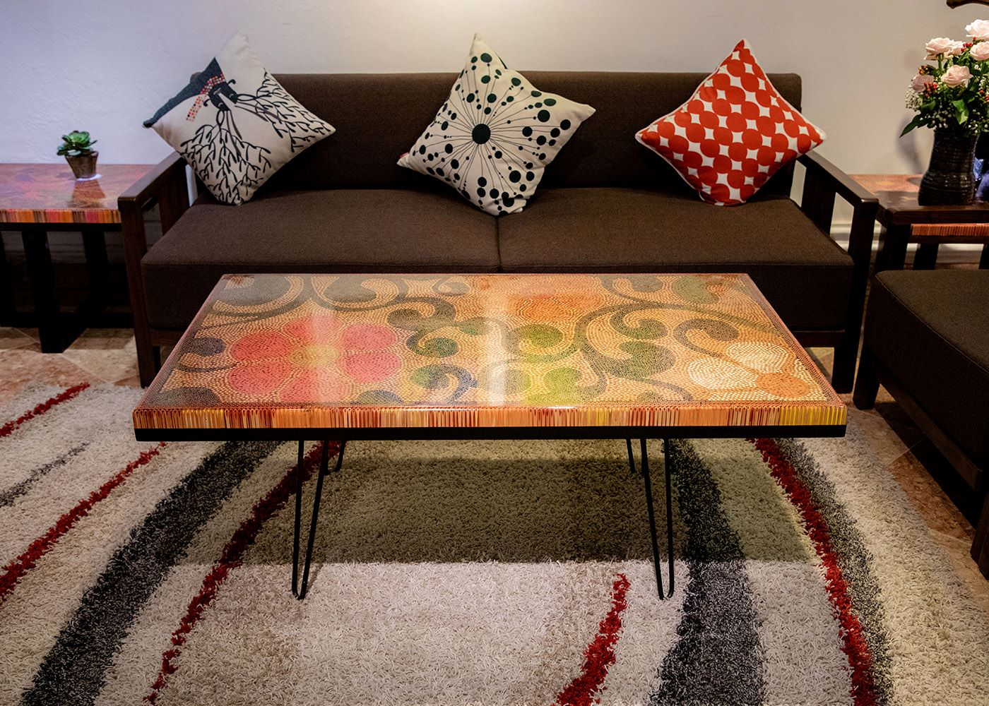 Spring Day Colored-Pencil Coffee Table