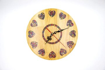 Strong Heart Colored-Pencil Wood Wall Clock