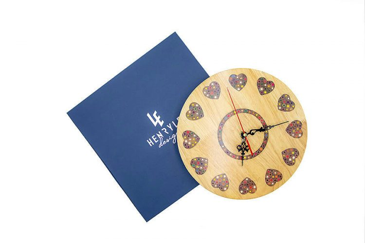 Strong Heart Colored-Pencil Wood Wall Clock 2