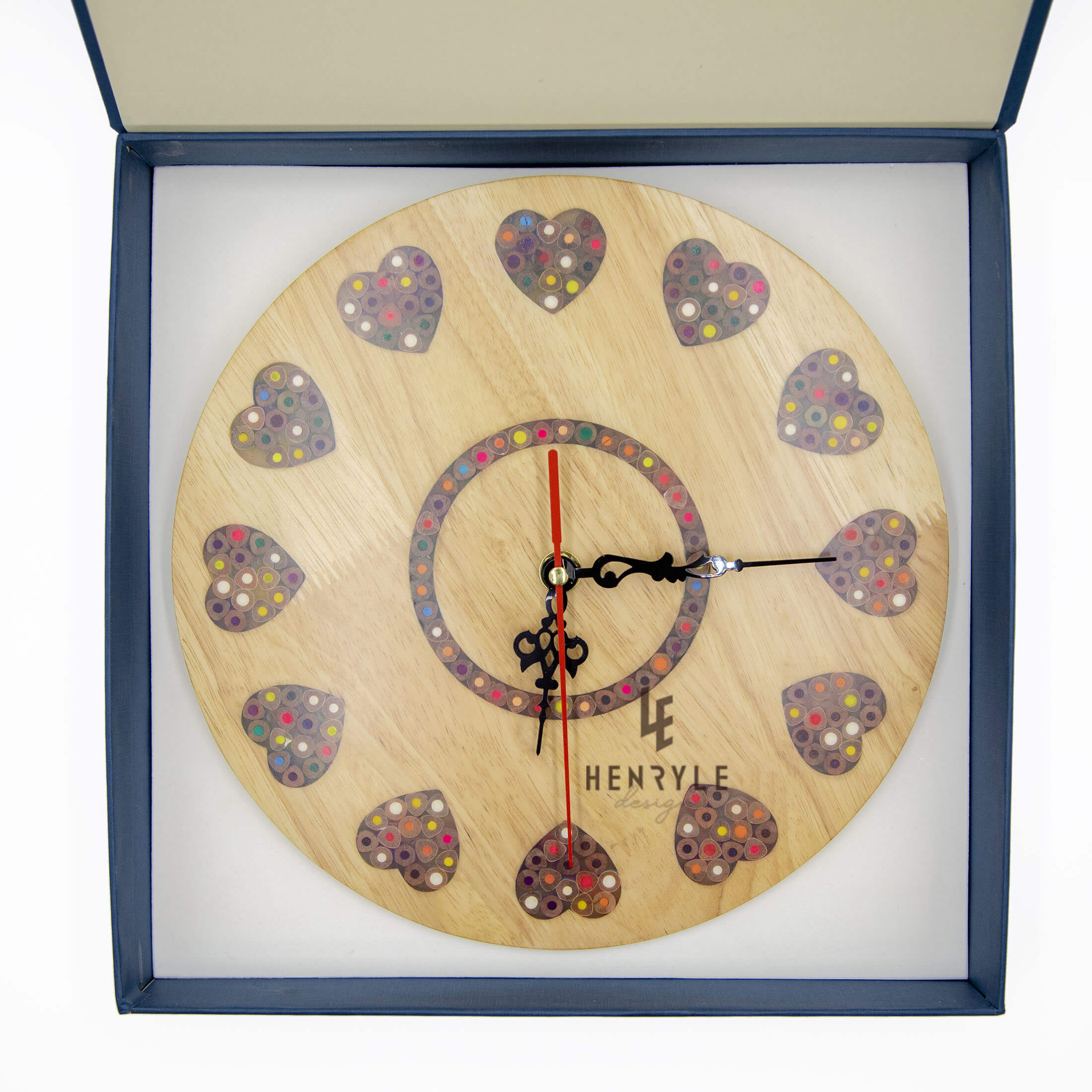Strong heart Color pencil wood wall clock 4