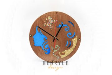 The Euterpe Muse Resin Colored-Pencil Wood Wall Clock